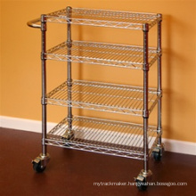 NSF Chrome Plated Steel Utility Cart Trolley with Push Handle
