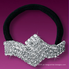 Moda metal prata chapeado cristal pequeno elástico faixas de cabelo