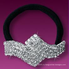Мода металлический посеребренный кристалл маленькие эластичные ленты для волос