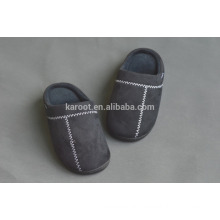 winter suede sole man warm fuzzy indoor slipper