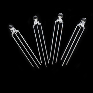 3mm Bi-färg LED Röd & Grön LED Clear-Lens Common Cathode