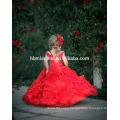 Children Red Color Sleeveless Little Queen flower girl dress For Wedding