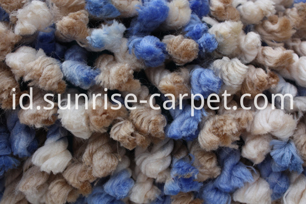 100% Polyester Shaggy rug blue beige color