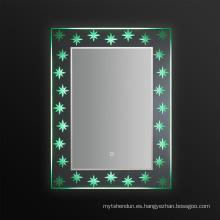 Jnh278 base cristal iluminado espejo de baño con pantalla táctil