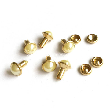 Pearl Rivets 7mm Crystal Gold Brushed Finish