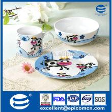3Pcs porcelain breakfast set BC8005 for kids ceramic children set company