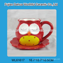 Owl shaped ceramic cup with saucer in new style