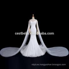 De lujo de tren largo de hombro de la sirena sirena Fishtail vestido de novia de la boda