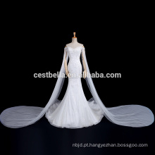Luxo Long Train Off Shoulder Querida Mermaid Fishtail Casamento Vestido de Noiva
