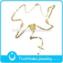 TKB-N0032 Jésus Crucifix Vierge Marie Bijoux Chapelet Perle Placage Or Religieux Haute Qualité En Acier Inoxydable Collier