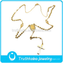 TKB-N0032 Jesus Crucifix Virgin Mary Jewelry Rosary Bead Plating Gold Religious High Quality Stainless Steel Necklace
