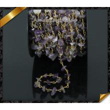 Amethyst Quartz Beads Chain, Gemstone Rosary Pendant Chains (JD004)