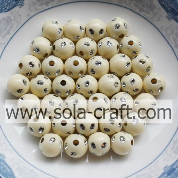 5MM Cream Color Popular Acrylic Disco Dot Beads For Bracelet
