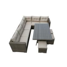 Новый 9-местный садовый плетеный угловой диван
