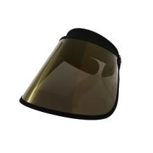 Boné dourado com viseira de sol e protetor facial chapéu externo