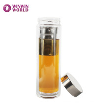 BPA Free Leakproof Double Wall Glass Thermos Vacuum Tea Flask With Tea Strainer