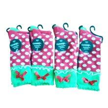 Muchacha colorida tripulación calcetines con encaje y lazo