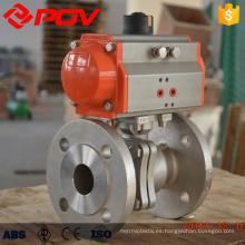 Válvula de bola accionada por aire neumática bridada bidireccional del acero inoxidable