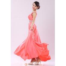 Proveedores de vestidos de noche baratos Beaded Peach correas cinturones de gasa palabra de longitud del partido vestido de alfombra roja