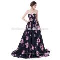 Strapless Backless Black Silk Printed Flower Satin Ball Gown Train Sexy Wedding Dress