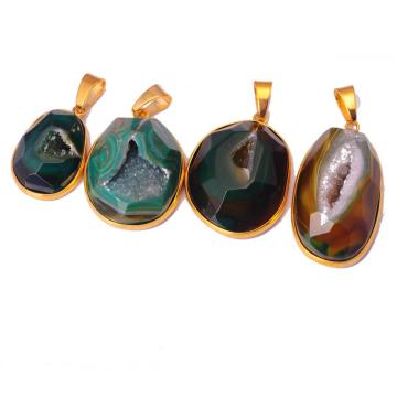 Plated Gold Wrapped Agate Drusy Pendant