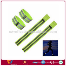 hi vis glow in the dark colorful reflective woven fabric slap wristband