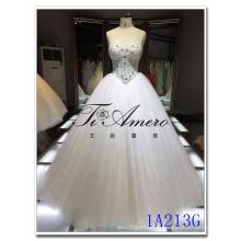 China wholesale beaded ball gown polyester Mordern Corset Waist Wedding Dress 2016 bride