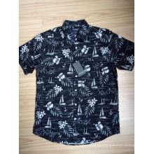 Kurzarmhemd aus Baumwollpopeline mit Hawaii-Print für Herren