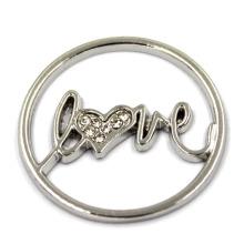 22мм серебристый круглый Diamand Love полые слайд-брелки