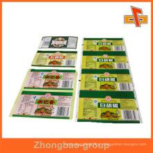 Guangzhou fabricante de impressão por atacado e material de embalagem personalizável etiqueta de embalagem de carne de impressão
