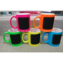 New Chalk Mug, Hot Chalk Mug, Neon Color Mug with Chalk Decal