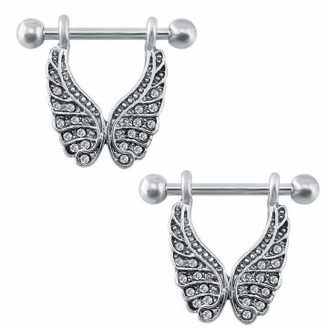 Angel Wings Dangle Nipple Rings Straight Barbell