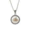 925 Silver Freshwater Pearl Pendant with CZ