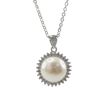 Colgante de perlas de agua dulce de plata 925 con CZ