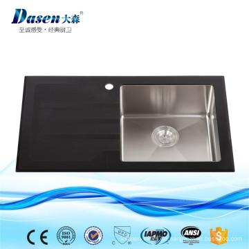 China Berühmtes Band-Fossil-Lieferanten-Schwarz-Glasplatte, die tiefe Schüssel-große Kapazitäts-Küchen-Wanne faltet