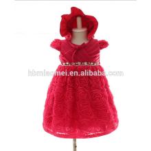 Noite Puffy Vestido com Strass Pérola Infantil Lace Flor Na Altura Do Joelho Vestido 3 M 6 M 12 MM Vestido Da Menina Do Bebê na Cor Vermelha para a Festa