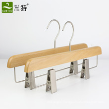 natural color solid beech wood trousers pants skirt hangers with clips
