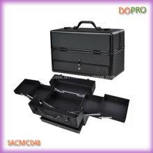 Étui de maquillage en bois rigide PRO en aluminium noir avec tiroir (SACMC048)