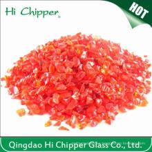 Chips de vidrio rojo claro triturado