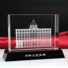 3D Laser Architectural Model Crystal Glass Cube Paperweight