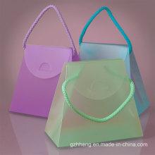 Caja de regalo plegable transparente del PVC de la manera transparente (bolso cosmético plástico)