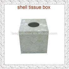 Boîte à tissus à coquillage d'eau douce et à l'artisanat naturel