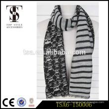 Blanco y negro dos damas laterales viscosa bufanda de moda con distribuidores de cráneos en china