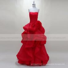 Ruffle mujeres musulmanas rojas del vestido de noche