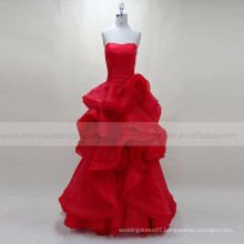 Ruffle red muslim evening dress women