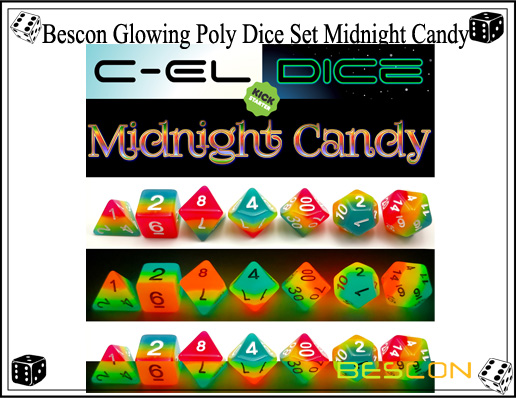 Bescon Glowing Poly Dice Set Midnight Candy-5
