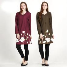 Premium quality polyester digital printed floral woman dress linen muslim abaya