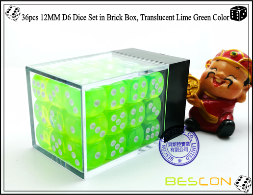 36pcs 12MM D6 Dice Set in Brick Box, Translucent Lime Green Color-3