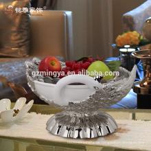Hochwertige elegante Harz Handwerk luxuriösen Pfau modernen Stil Kompott Harz Obst Platte Harz Figur Haus Dekor