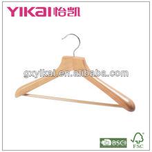 wooden coat hanger with wide shoulders and rubber teech